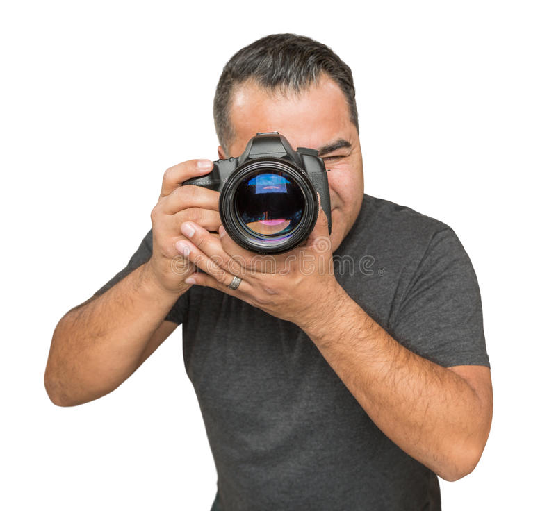 Handsome Hispanic Young Male With DSLR Camera Isolated on a Whit. E Background stock photos