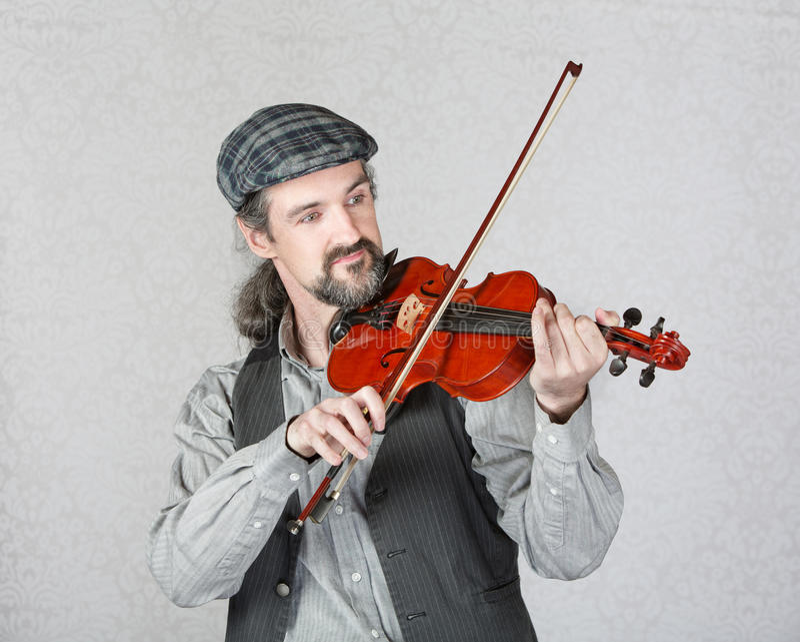 Handsome Irish Fiddler Performing royalty free stock photos