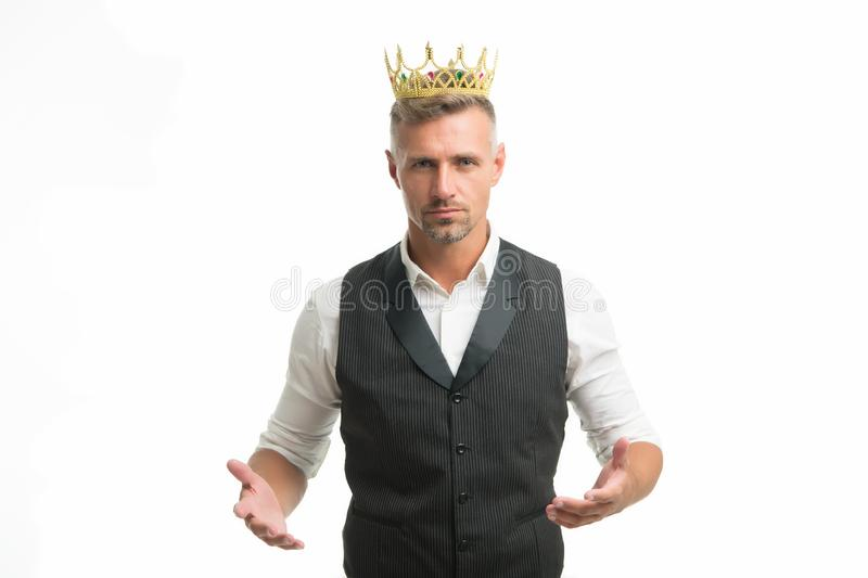 Handsome king. Glory seeking man. Man representing power and triumph. Business king. Businessman wear crown. Success in. Business. King of style. Achieving stock photography