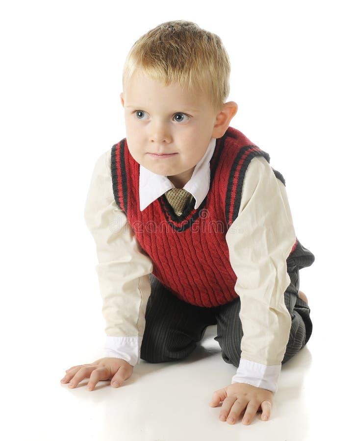 Download Handsome, Kneeling Preschooler Stock Image - Image: 27827289