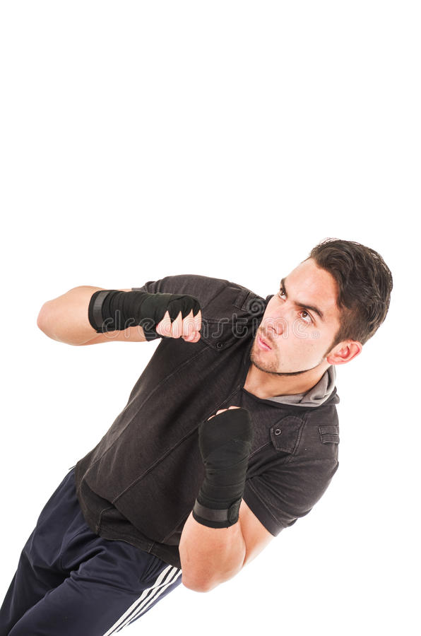 Handsome latin fighter wearing black clothes stock images