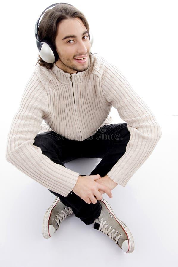 handsome listening male music to young στοκ φωτογραφίες