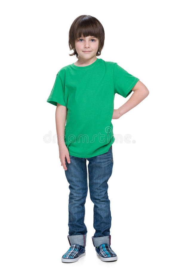 Handsome little boy on the white background. A portrait of a handsome little boy on the white background royalty free stock photo