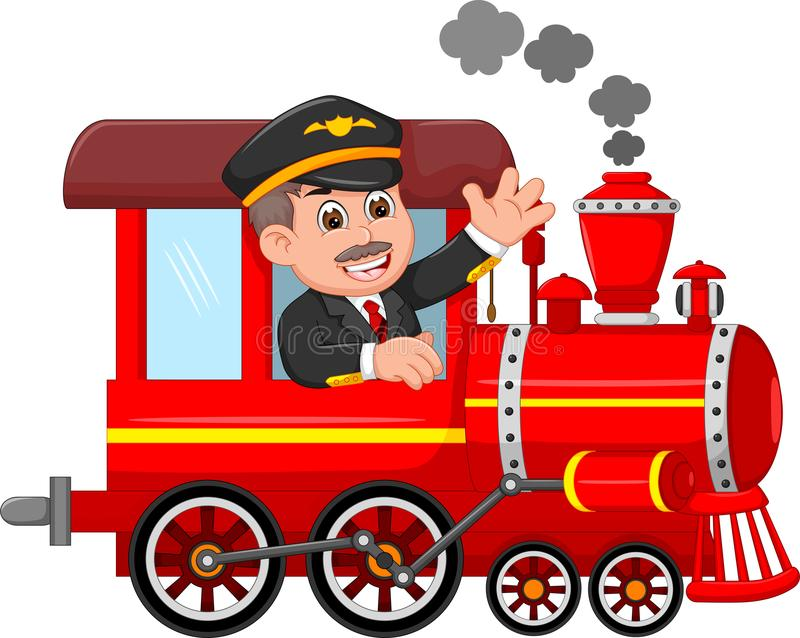 Handsome machinist cartoon uo train with smile and waving. Pict of handsome machinist cartoon uo train with smile and waving vector illustration