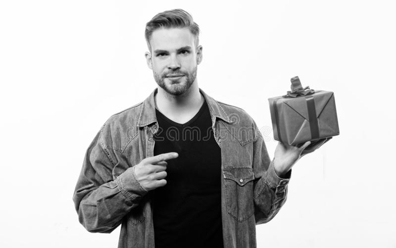 Handsome macho man. Love date. unshaven man with present box. Happy birthday. Man share present. Valentines day gift. Male fashion. Romantic greeting. Boxing royalty free stock photo