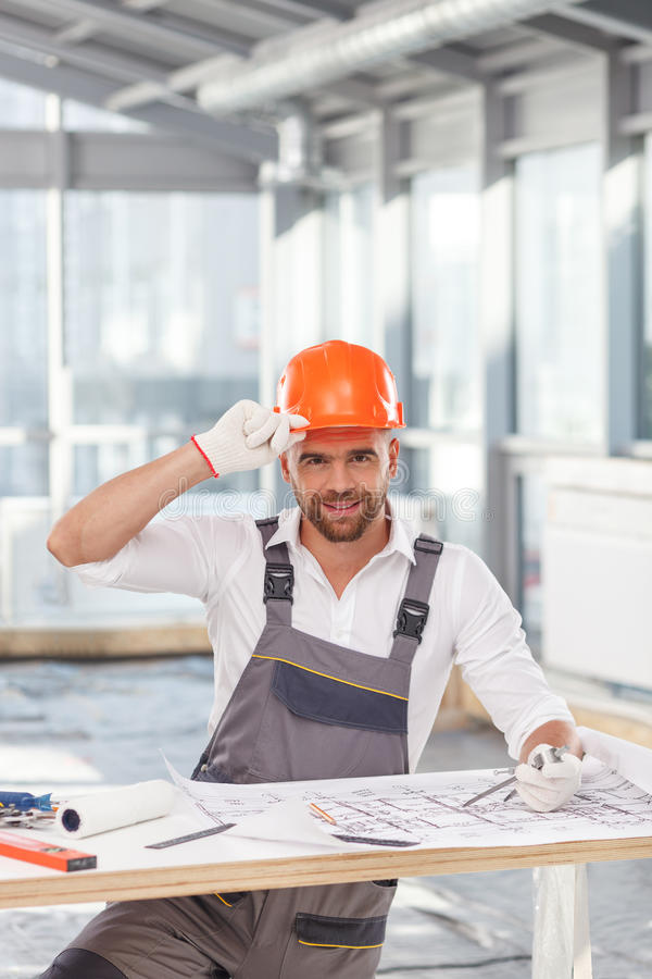 Handsome male architect is planning new stock photography