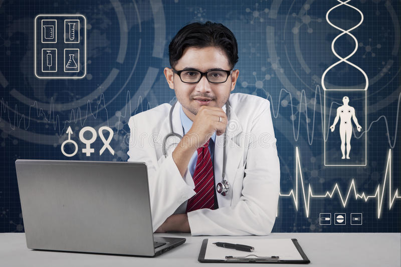 Handsome male asian doctor stock photography