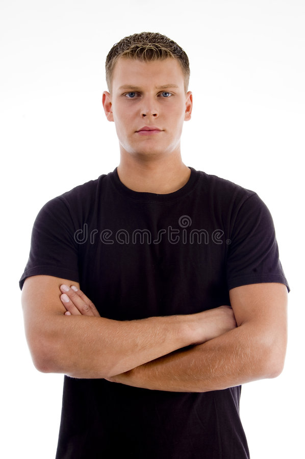 Handsome male with crossed arms. On an isolated background stock images
