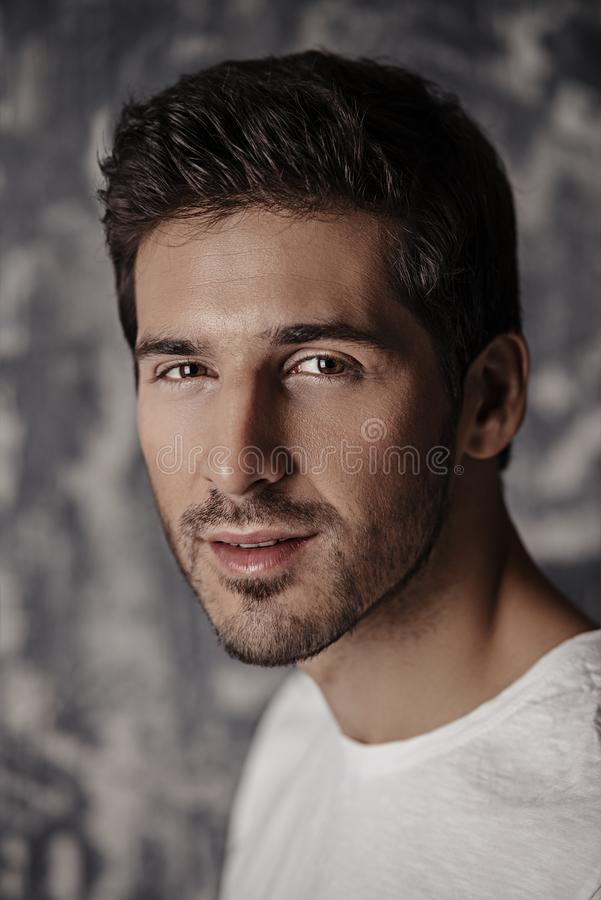 Handsome male face stock photo