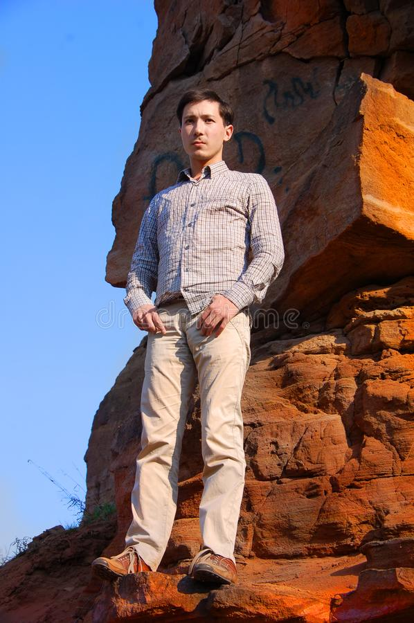 Download Handsome Male Fashion Model Outdoors Stock Image - Image of freedom, desert: 14146281
