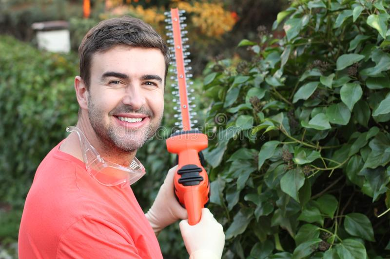 Handsome male gardener smiling at work stock images