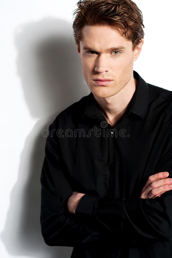 Handsome male over white background stock photography