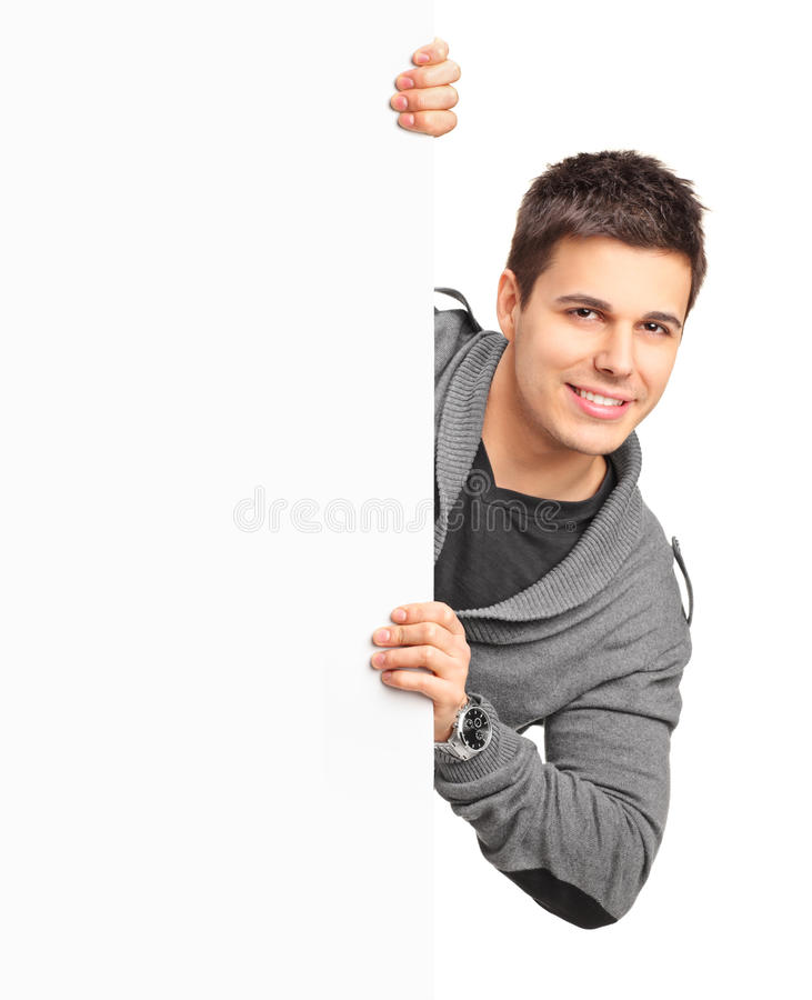 Download Handsome Male Posing Behind A Panel Stock Image - Image: 23322559