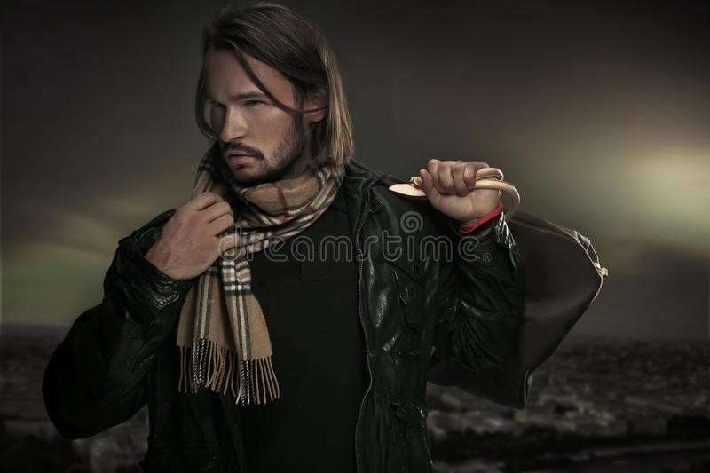 Download Handsome man with bag stock image. Image of isolated - 16898909