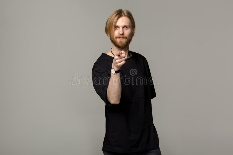 Handsome man with beard and good-looking hairstyle royalty free stock images