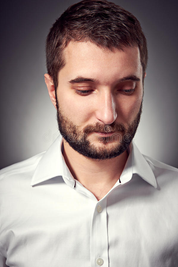 Download Handsome Man With Beard Looking Down Stock Photo - Image: 28654806