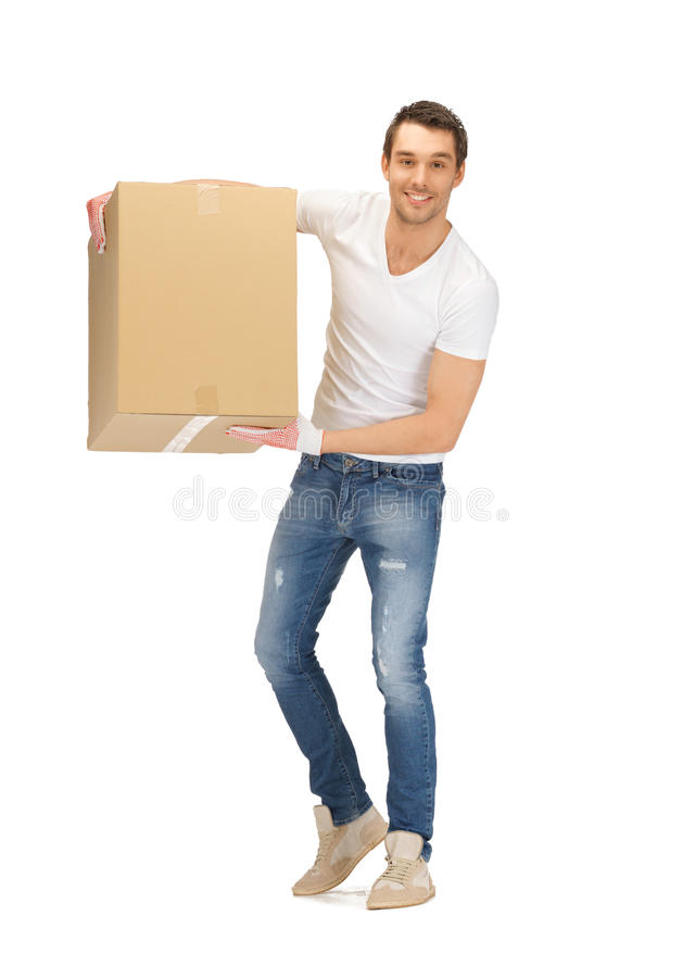 Download Handsome man with big box stock photo. Image of cute - 25143520
