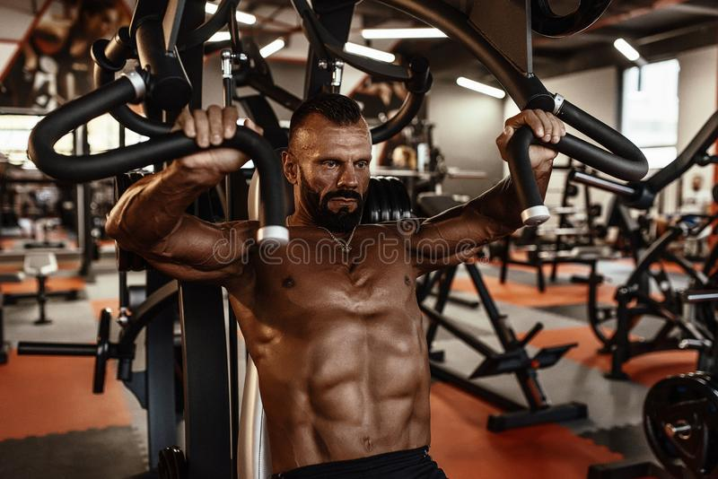 Handsome man with big muscles working out in gym. Muscular bodybuilder doing exercises. stock photos