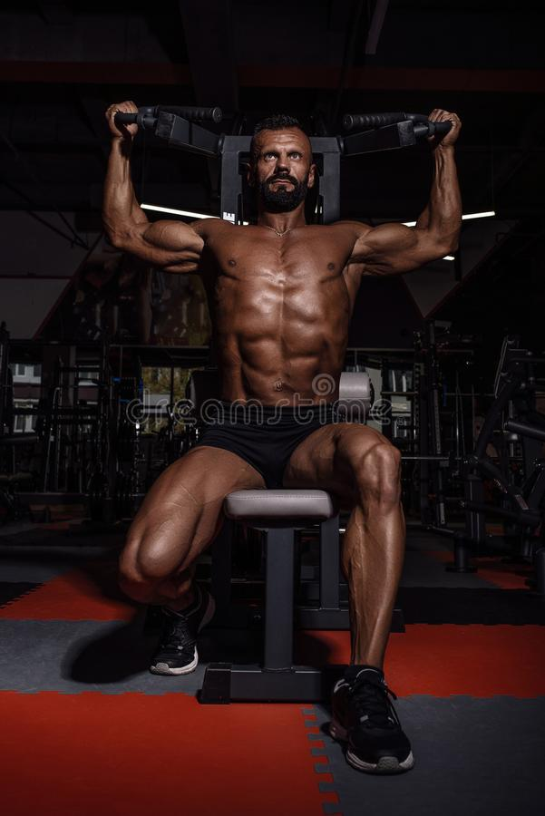 Handsome man with big muscles working out in gym. Muscular bodybuilder doing exercises. royalty free stock photography