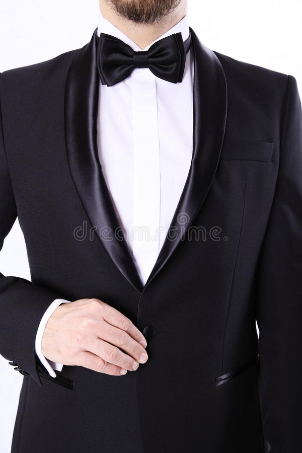 Handsome man in black tuxedo royalty free stock images