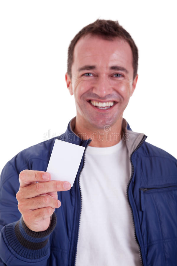handsome man, with blank business card stock photo