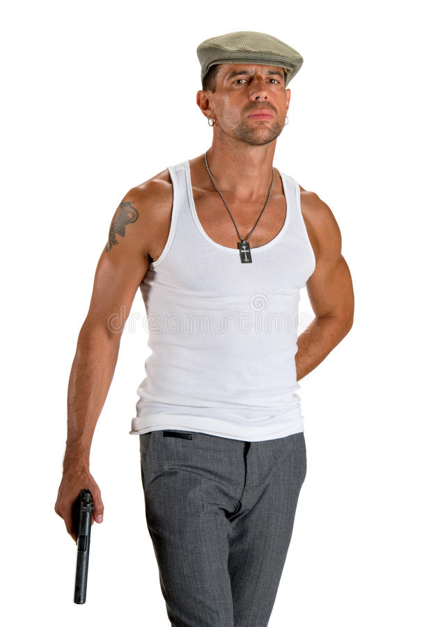 Download Handsome Man In Cap With A Gun Stock Image - Image: 33463799