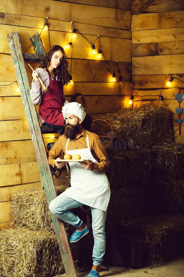 Chef cook and girl royalty free stock image