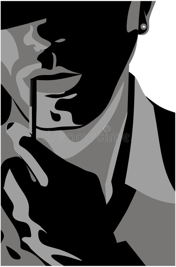 Handsome man with a cigarette. Abstracted image royalty free illustration