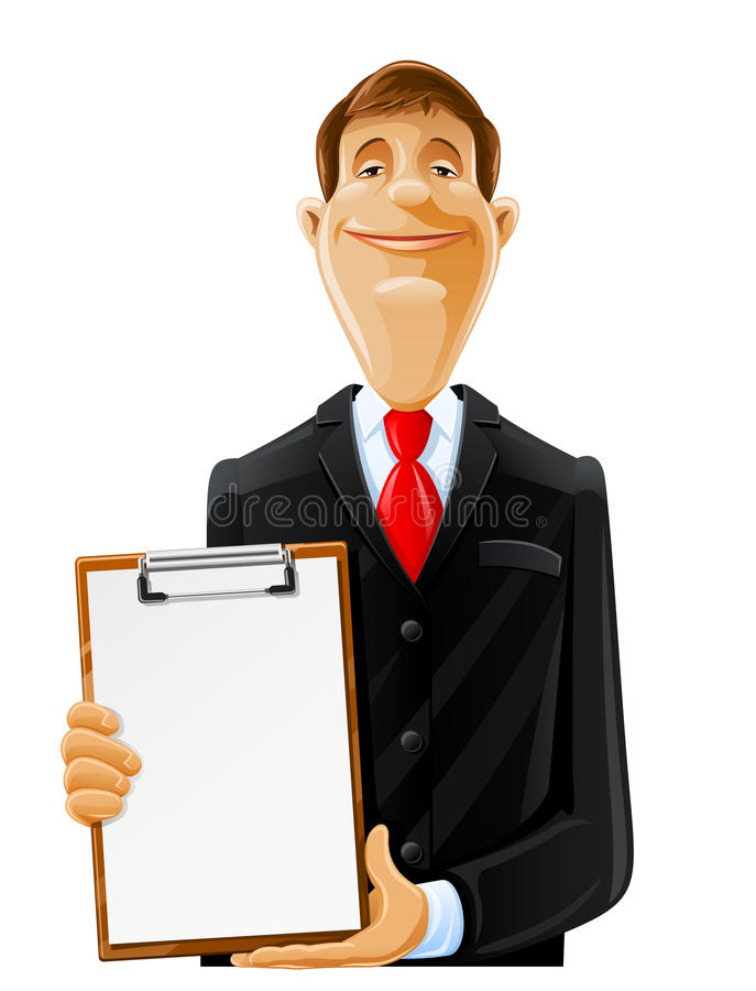 Handsome man with clipboard. Illustration isolated on white background royalty free illustration