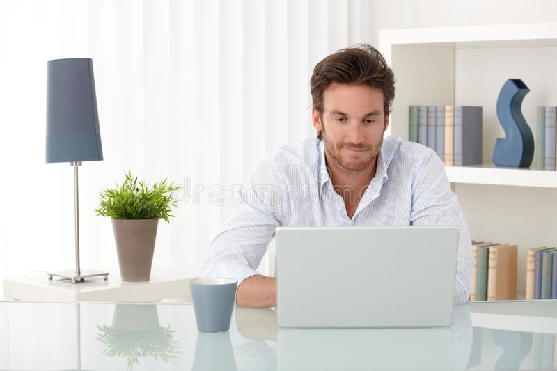 Handsome man with computer at home. Handsome sitting at living room table, using laptop computer at home, smiling, looking at screen