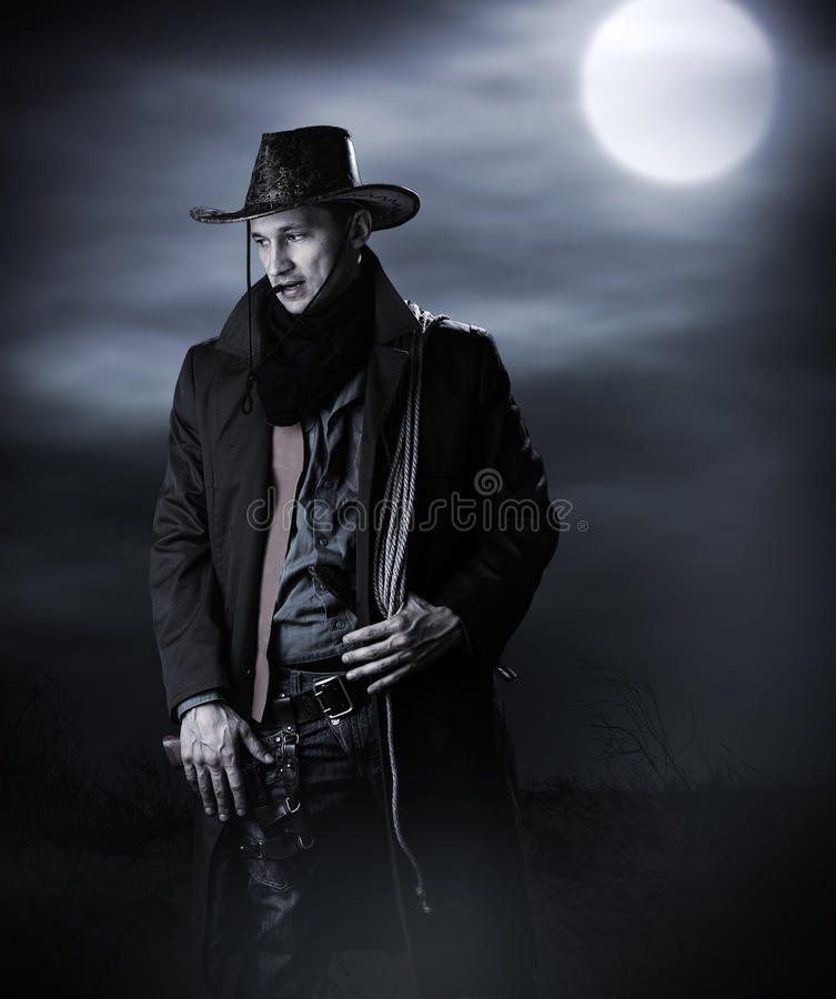 Handsome man in cowboy costume royalty free stock images