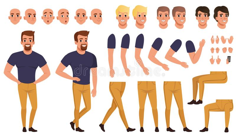 Handsome man creation set with various views, poses, face emotions, haircuts and hands gestures. Cartoon male character. Constructor in flat style. Vector royalty free illustration