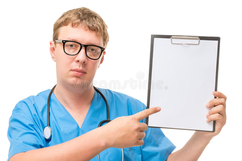 Handsome man doctor with a blank in the hands royalty free stock images