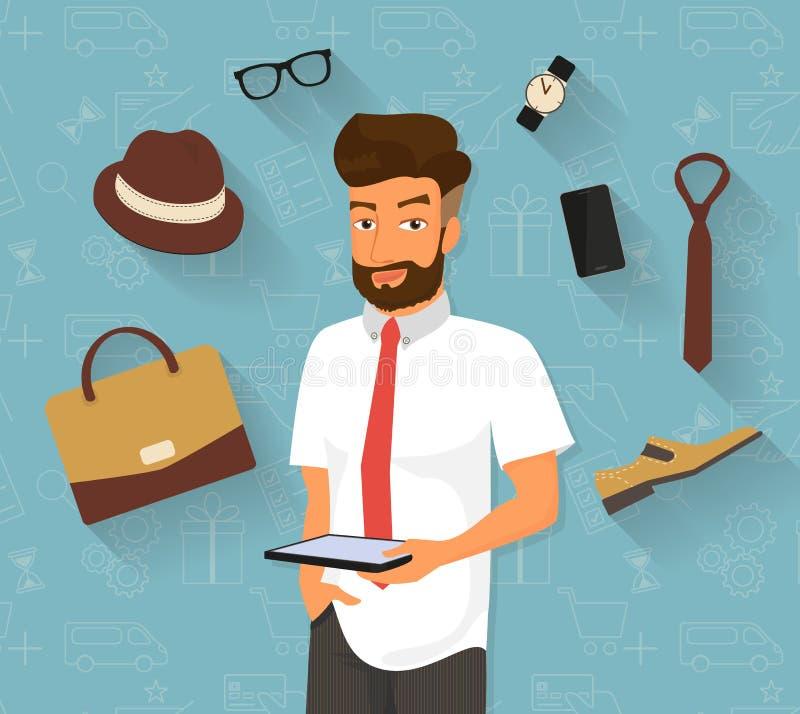 Handsome man doing online shopping stock illustration