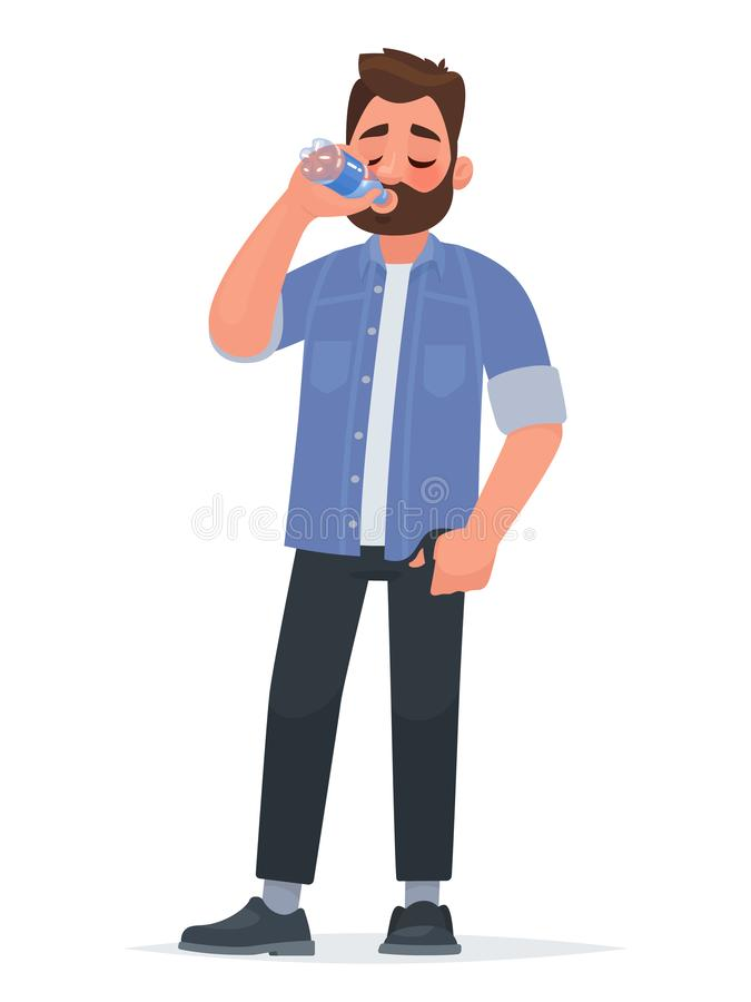Handsome man drinking water from a bottle. Thirst stock illustration