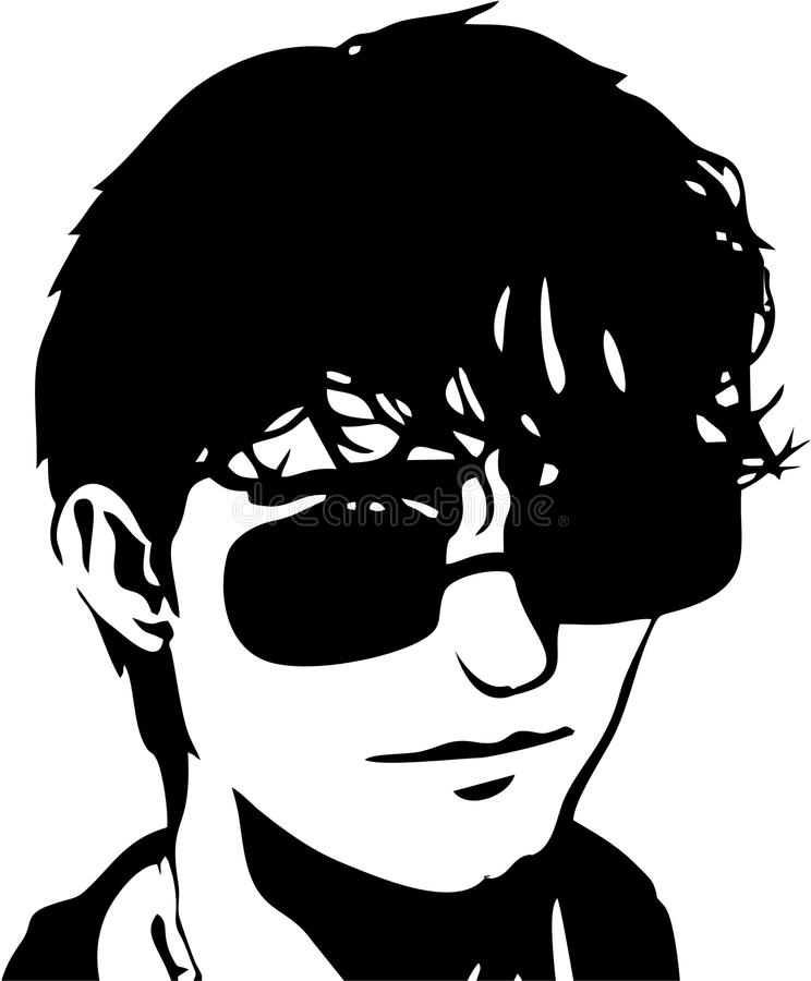 Handsome Man face with glasses. Handsome Man abstract with glasses vector illustration