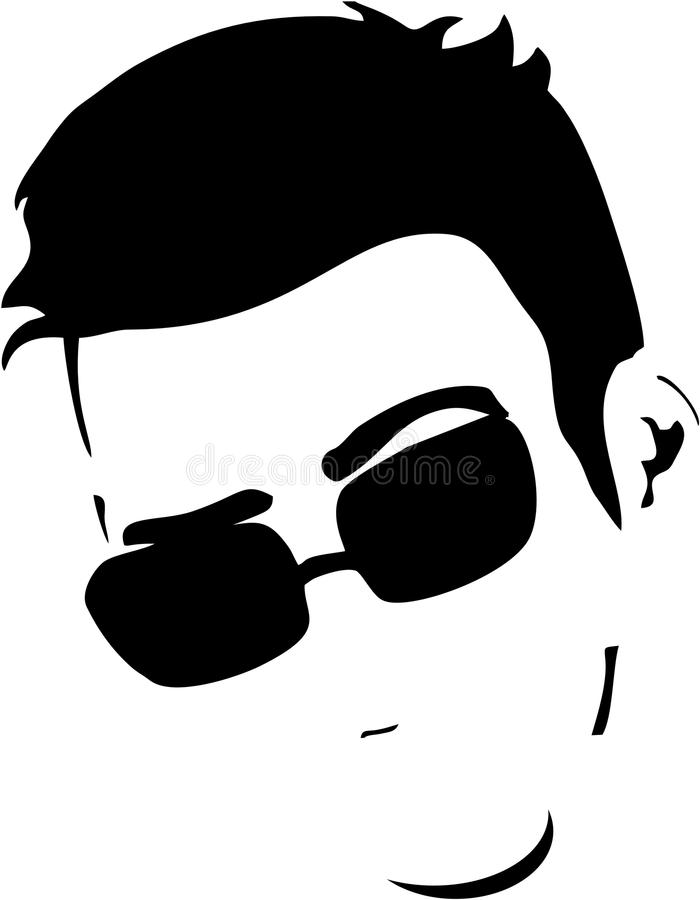 Handsome Man face with glasses. Handsome Man abstract with glasses stock illustration