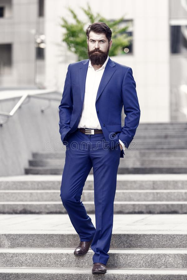 Handsome man in fashion suit. modern life. formal male fashion. Classic style aesthetic. confident businessman. business royalty free stock image