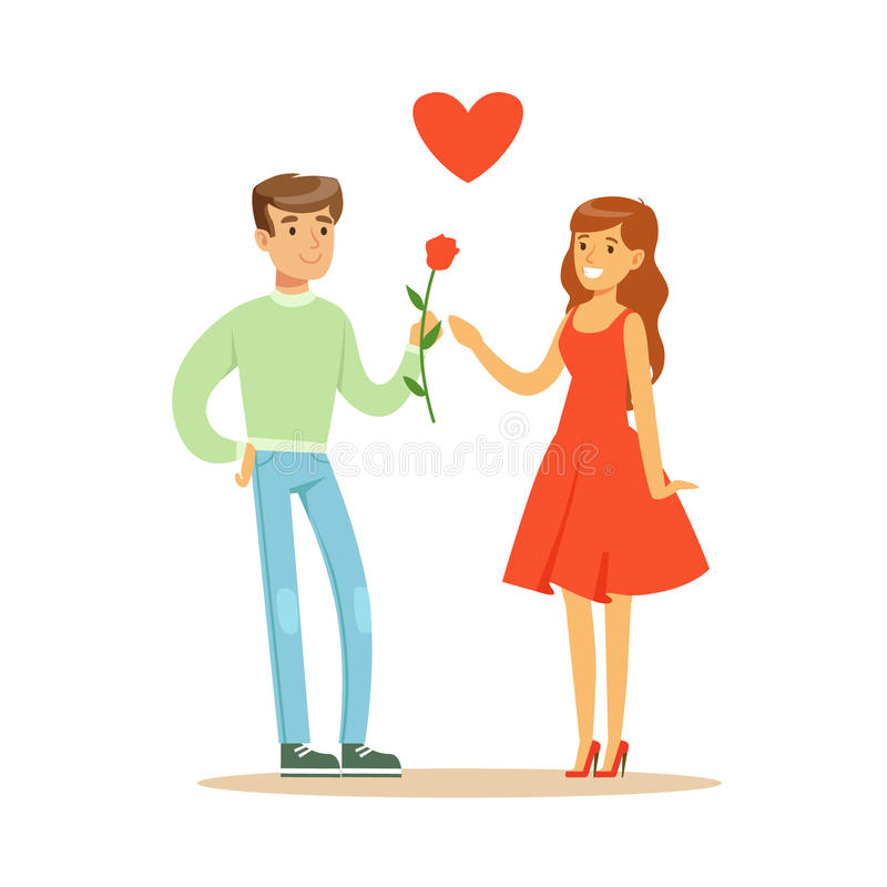 Handsome man giving rose to his beautiful girlfriend in red dress colorful character vector Illustration. Isolated on a white background stock illustration