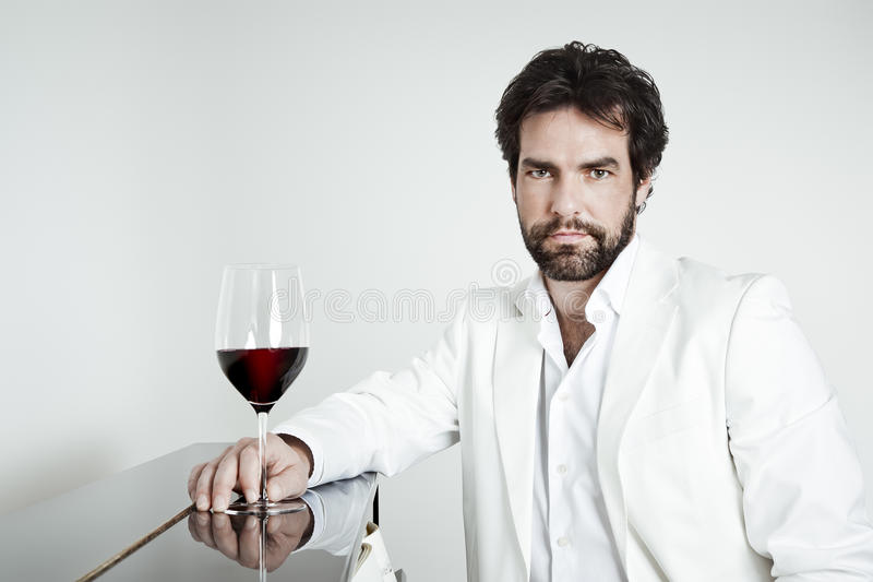 Handsome Man And A Glass Of Red Wine Stock Photography
