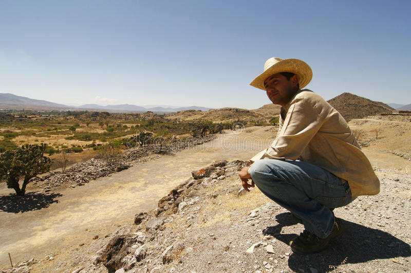 Download Handsome Man With A Hat, Watching Over The Land Stock Image - Image: 11917823