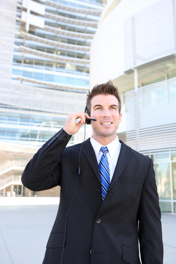 Handsome Man on Headset royalty free stock photo