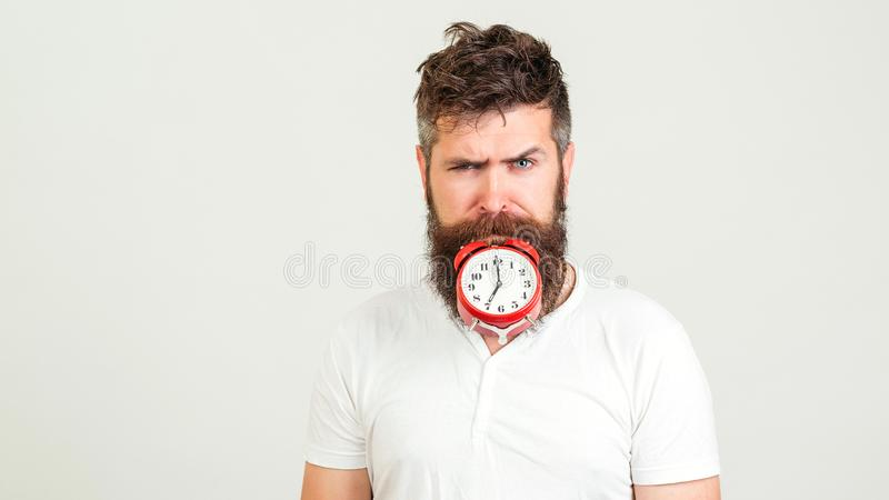 Handsome man holds the clock with his mouth. Crazy bearded hipster with clock. Brutal bearded guy with alarm clock on white stock photography