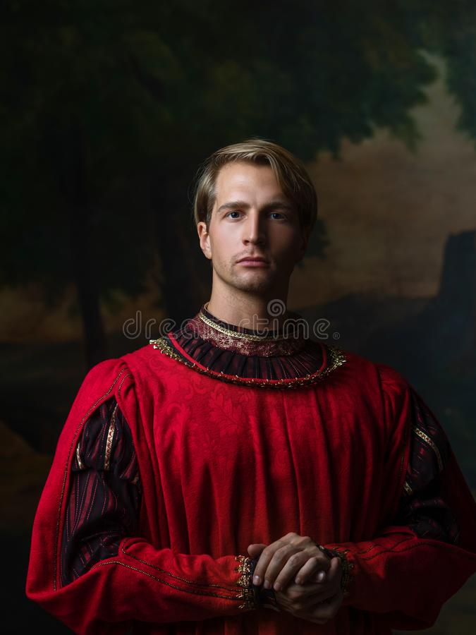 Free Handsome Man In A Royal Red Doublet. Stock Images - 165262854