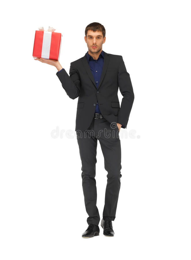 Free Handsome Man In Suit With A Gift Box Stock Photos - 39373513