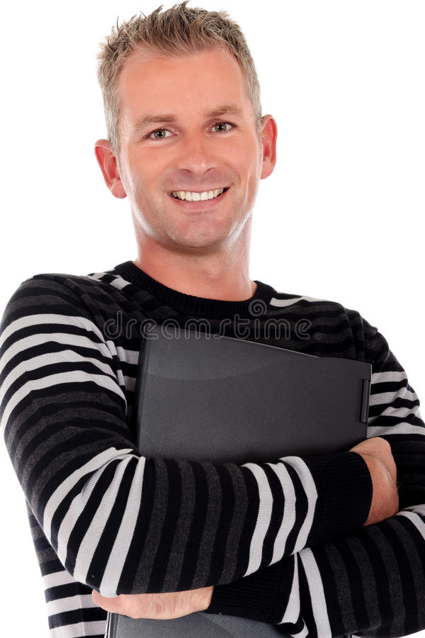 Handsome Man Laptop Stock Photography