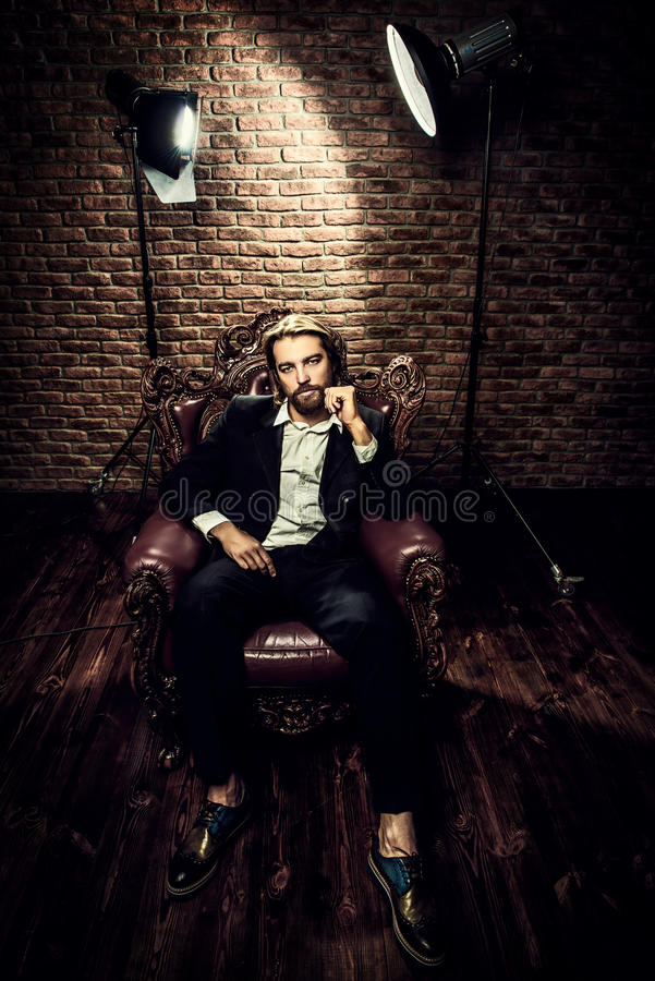 Handsome man in lights royalty free stock images