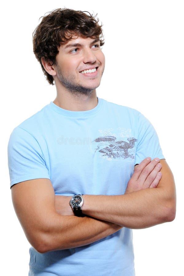 Handsome man looking away stock photo
