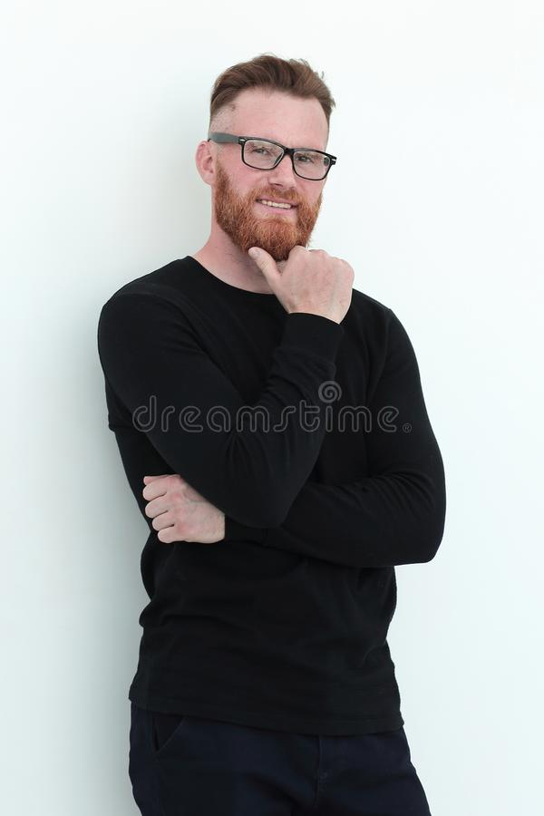 Handsome man a man in a black sweater. isolated on white stock image