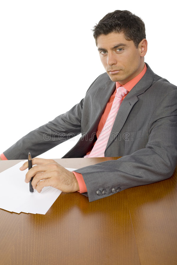 Handsome Man At Office Desk Royalty Free Stock Photos